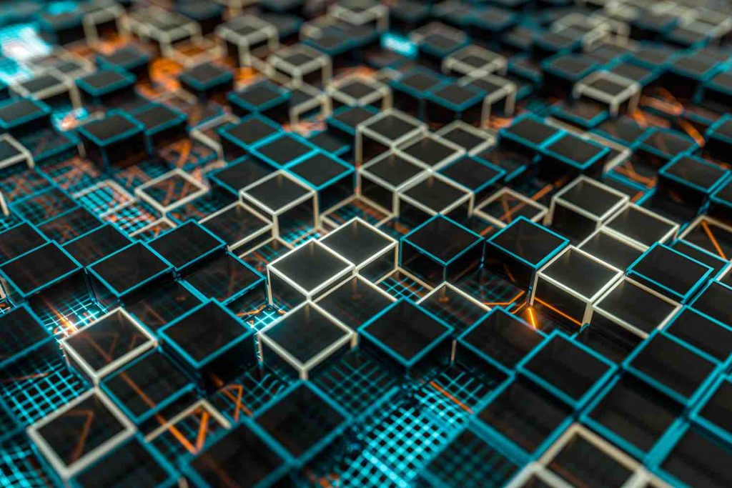 Glowing cubes block, glass material, 3d rendering.
