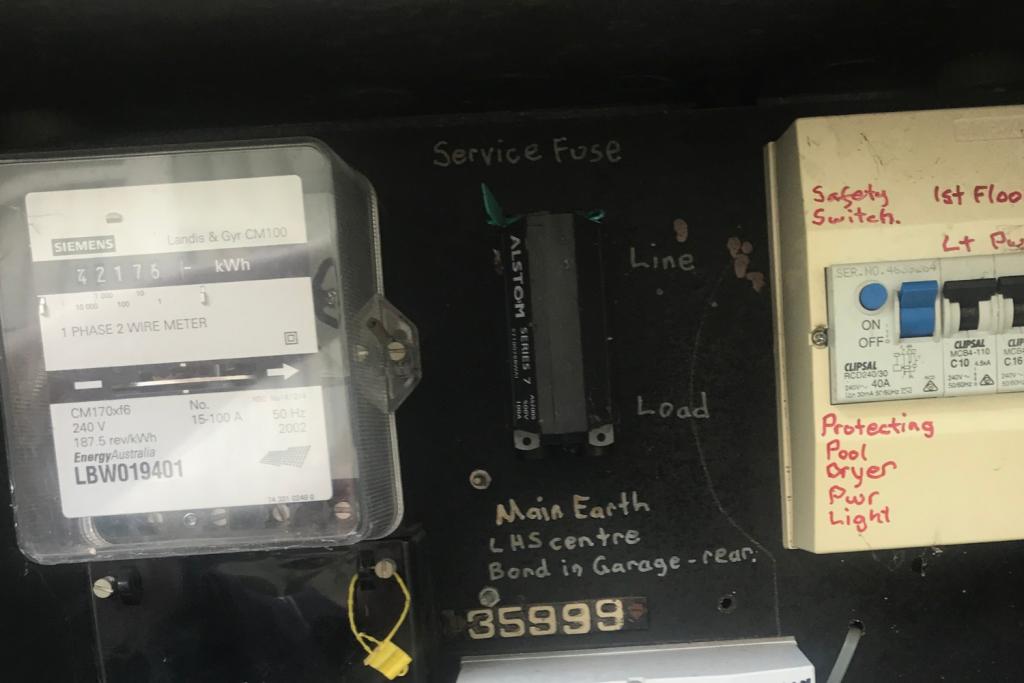 Old electricity meter box in Australia
